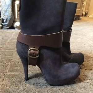 Shoes - Suede grey and brown Leather accent bootie